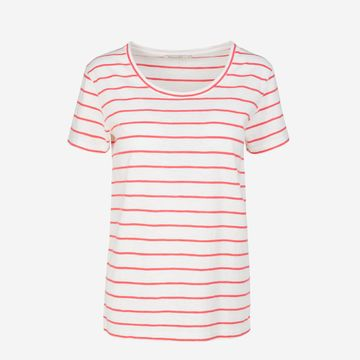 Josi Stripes T-paita off white-coral red