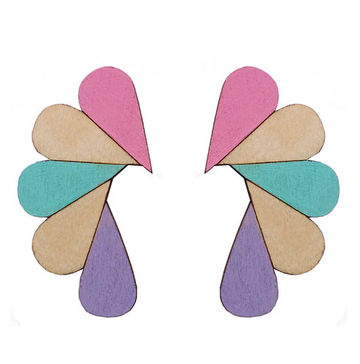Cry Me A River earrings | multipastel/wood