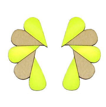 Cry Me A River earrings | neon yellow/wood