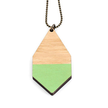 Diamante necklace big | light wood/green