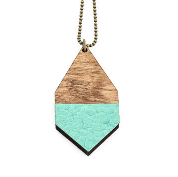 Diamante necklace big | dark wood/hammered mint