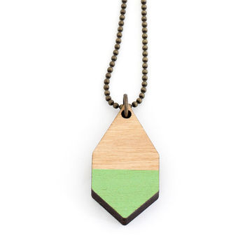 Diamante necklace small | light wood/green