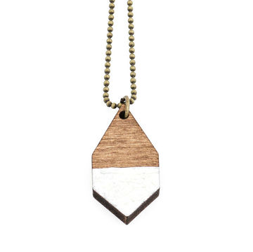 Diamante necklace small | dark wood/hammered white