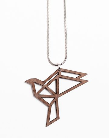 Origami Mini Dove pendant | walnut