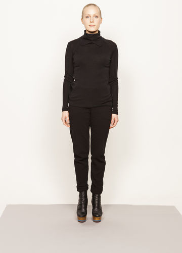 Pihla polo shirt | black wool silk