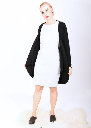 Pocket cardigan | black merino wool