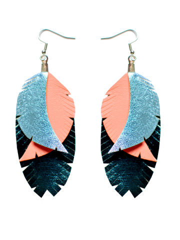 Color Me Up earrings | turquoise/coral/shiny light blue