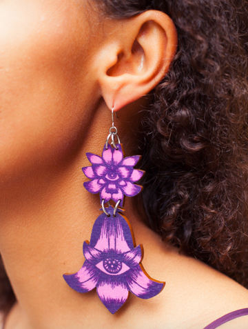 Flower Totem earrings double dangle | calluna/blueberry