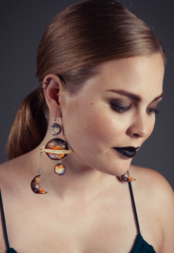 Planets earrings | dark matter/space dusk