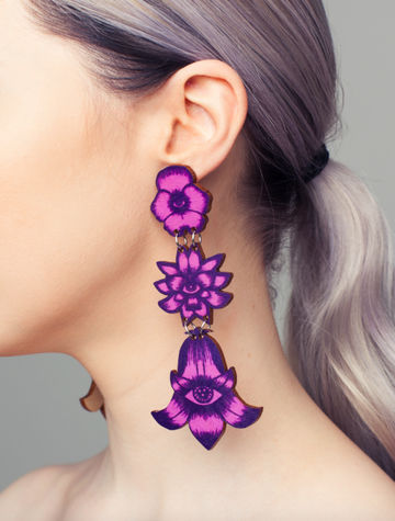 Flower Totem earrings triple stud | calluna/blueberry