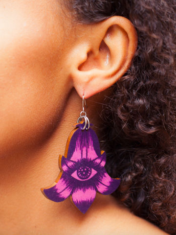 Flower Totem earrings single dangle | calluna/blueberry