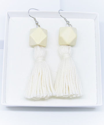Wou earrings | white on wood