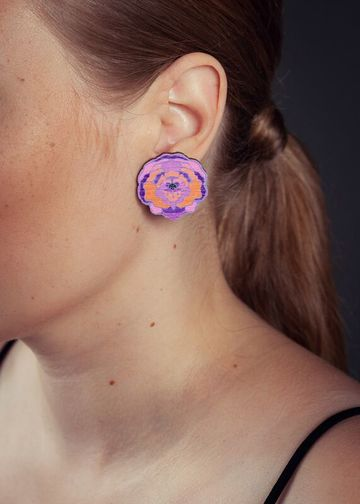 Paeonia stud earrings | lilac/tangerine