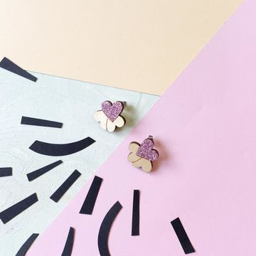 Pakahdus earrings | pink glitter/wood
