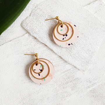 Pallot earrings | vaaleanpunainen / kulta