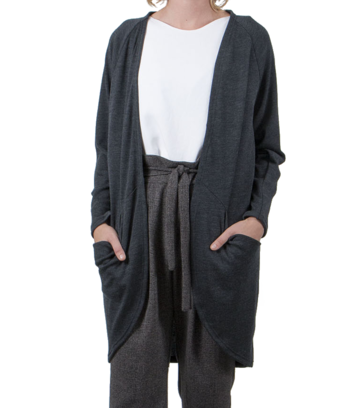 Pocket cardigan | charcoal grey merino wool