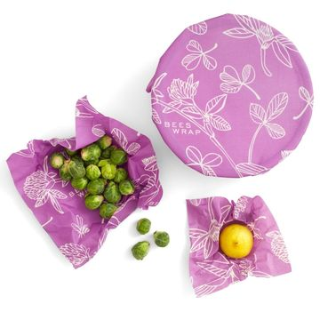 Bee's Wrap 3-pack | S/M/L clover print - Mimi's purple