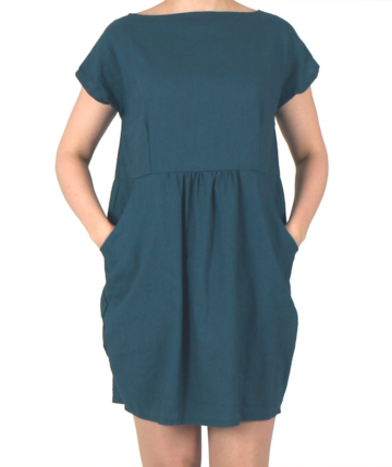 Linen tulip dress | petrol