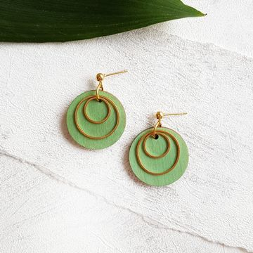 Pallot earrings | vihreä / kulta