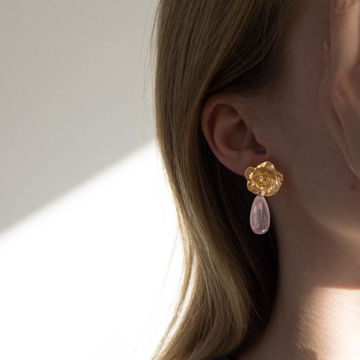 Käthe earrings rose quartz | gold