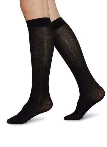 Freja bio wool knee high sock | black