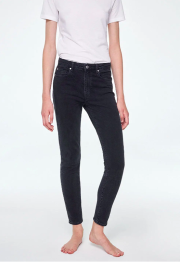 Tillaa skinny fit mid waist jeans | washed down black