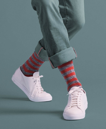 Socks plain stripe | warm orange & twisted