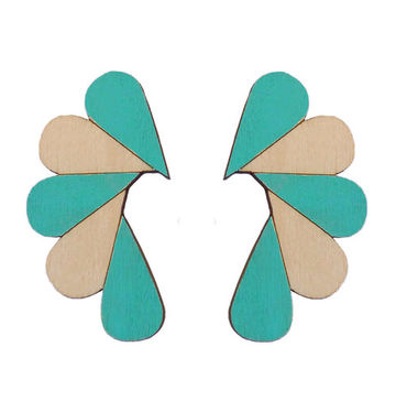Cry Me A River earrings | turquoise/wood