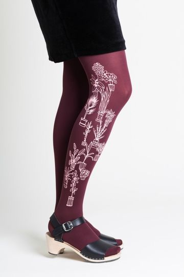 Flora tights 70den | red wine