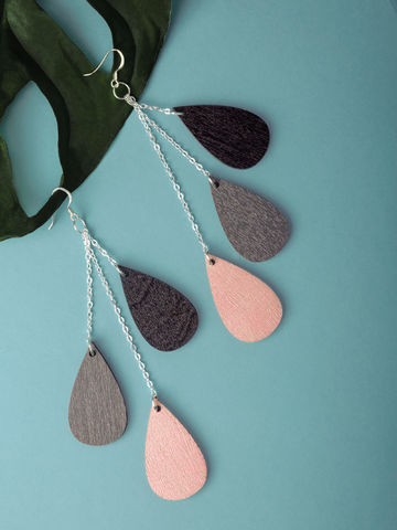 Drop earrings mini | black-grey-powderpink