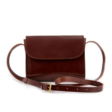 ELVI crossbody bag | brown hard leather