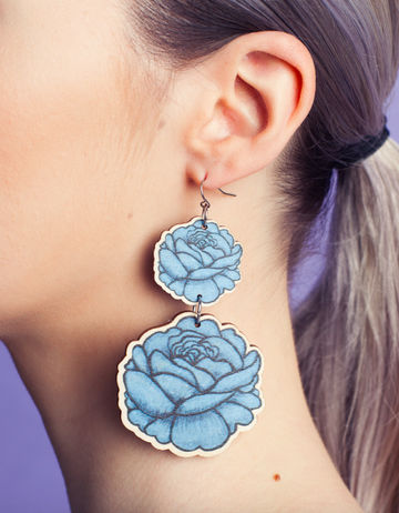 Rose earrings double dangle | aqua blue