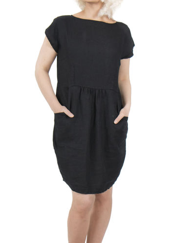 Linen tulip dress | black