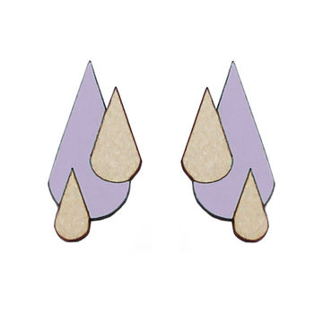 Let It Rain earrings | lavender/wood