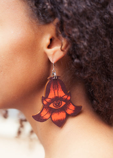 Totem Flowers earrings single dangle | red wine