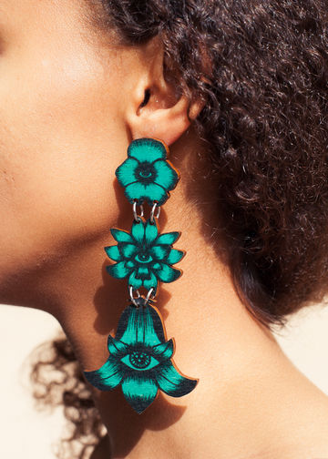 Totem Flowers triple stud earrings | jade green