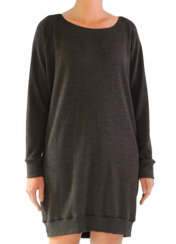 Cuffed merino wool tunic | charcoal grey
