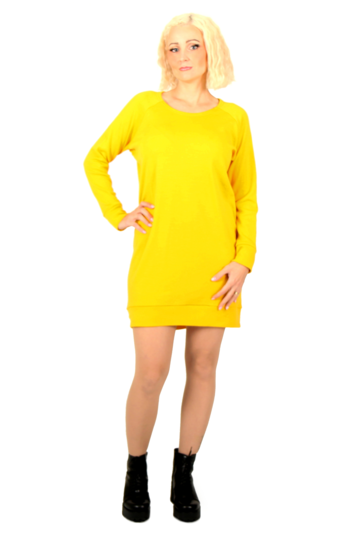 Cuffed merino wool tunic | yellow