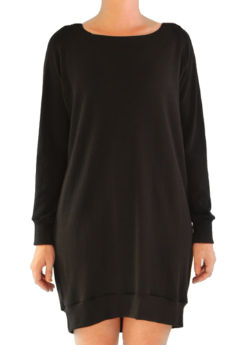 Cuffed merino wool tunic | black