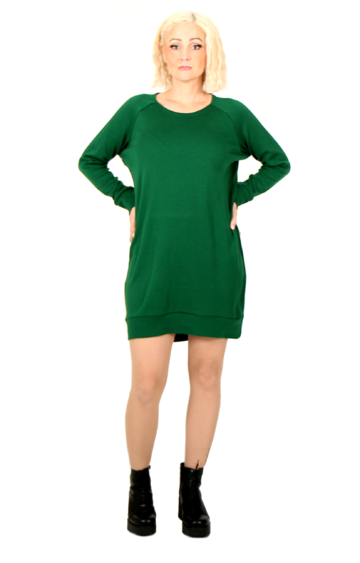 Cuffed merino wool tunic | green