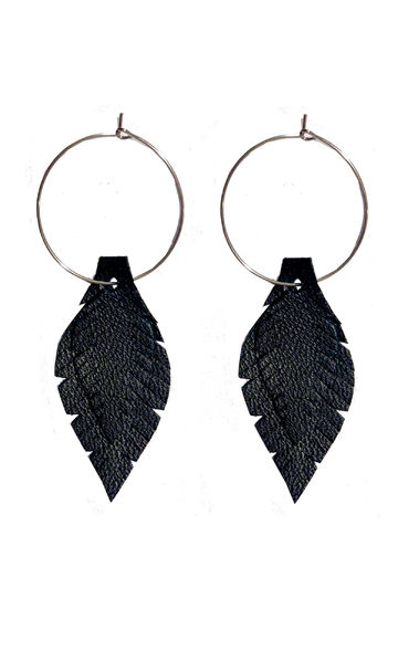 Feathers and down earrings | black