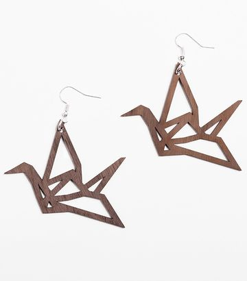 Origami Swan earrings | walnut