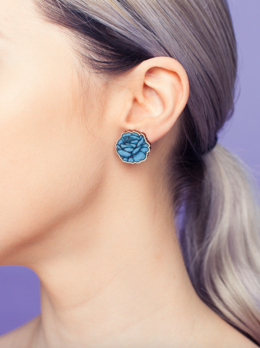 Rose stud earrings | aqua blue