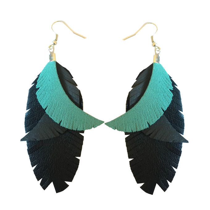 Color Me Up earrings | turquoise/grey/black