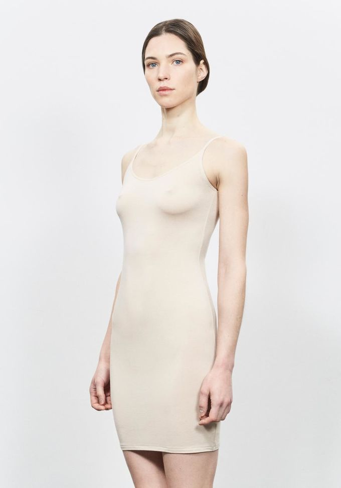 Slip dress with silverplus enrichment | beige