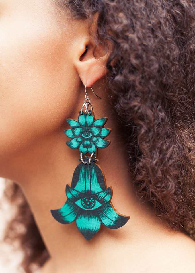 Flower Totem earrings double dangle | jade green